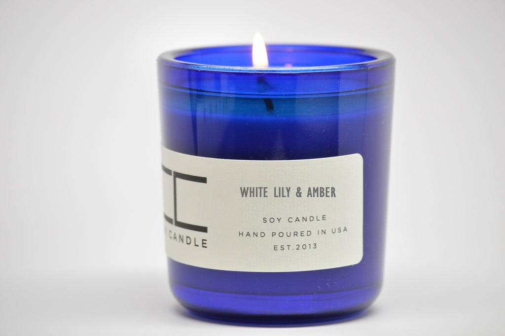 White Lily & Amber 7 oz Cobalt Blue Glass Soy Candle