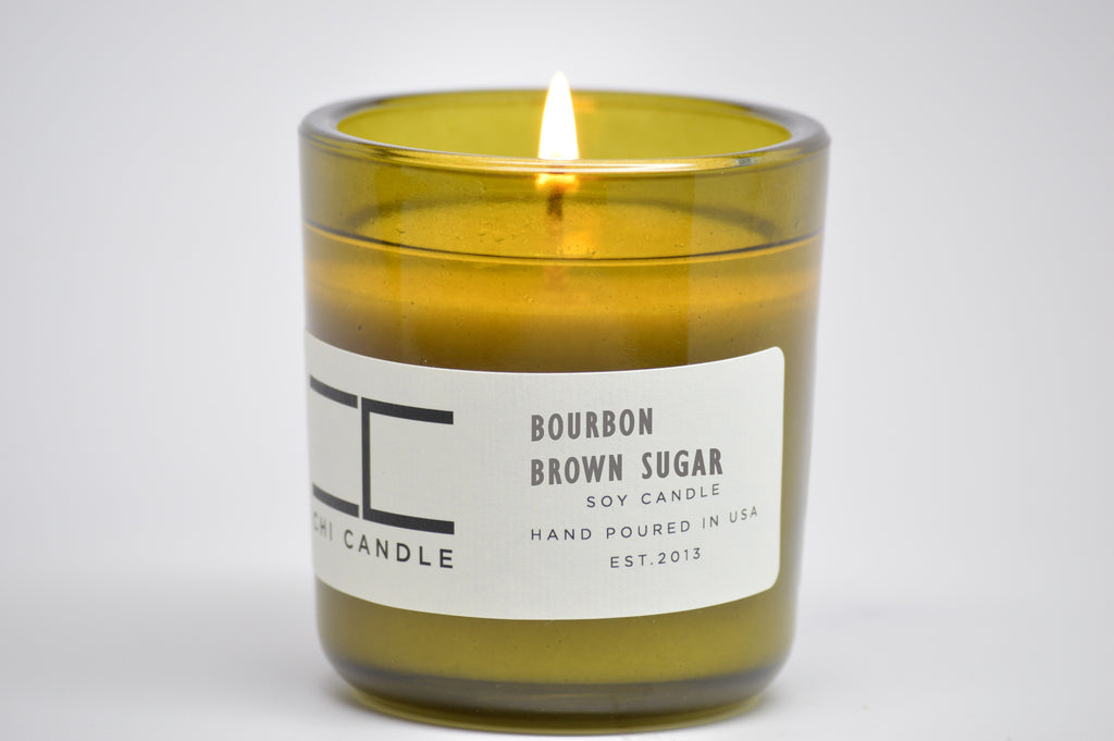 Bourbon - Brown Sugar 7 oz. Vintage Green Glass Soy Candle