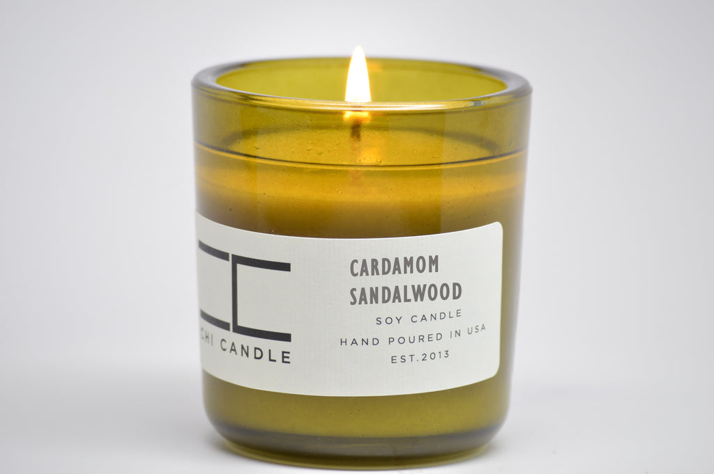 Cardamom - Sandalwood 7 oz Vintage Green Glass Soy Candle
