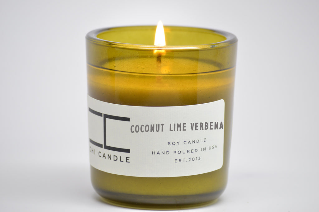 Coconut Lime Verbena 7 oz Vintage Green Glass Soy Candle
