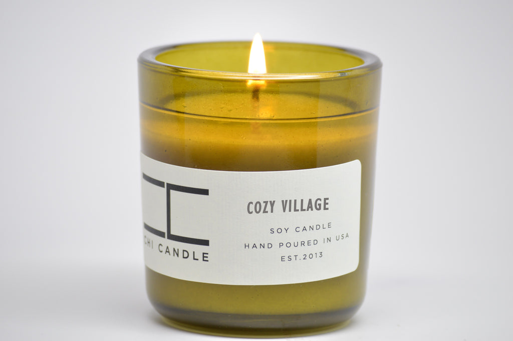 Cozy Village 7 oz Vintage Green Glass Soy Candle