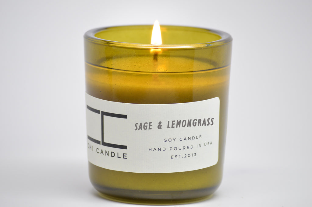 Sage & Lemongrass 7 oz Vintage Green Glass Soy Candle