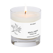 Wealth + Purity Soy Candle 8 oz Tumbler.  Hand-sketched design label.