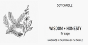 Wisdom + Honesty Soy Candle 8 oz Tumbler.  Hand-sketched design label.
