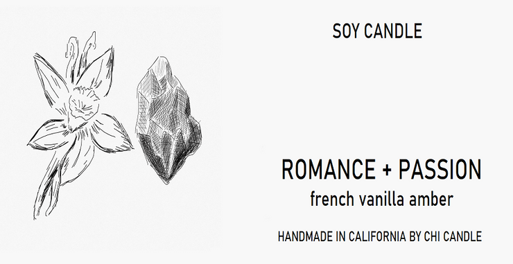 Romance + Passion Soy Candle  8 oz Tumbler.  Hand-sketched design label.