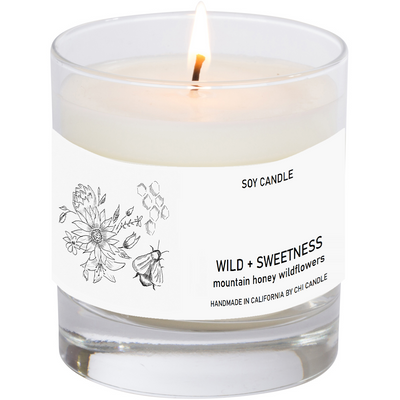 Wild + Sweetness Soy Candle 8 oz Tumbler. Hand-sketched design label.