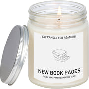 New Book Pages 8 oz Glass Jar Literary Soy Candle for Readers