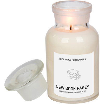 New Book Pages 8.5 oz Apothecary Literary Soy Candle for Readers