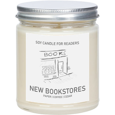 New Bookstores 8 oz Glass Jar Literary Soy Candle for Readers