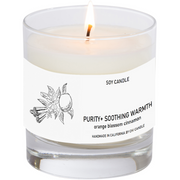Purity+ Soothing Warmth Soy Candle 8 oz Tumbler. Hand-sketched design.