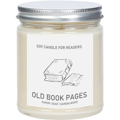 Old Book Pages 8 oz Glass Jar Literary Soy Candle for Readers
