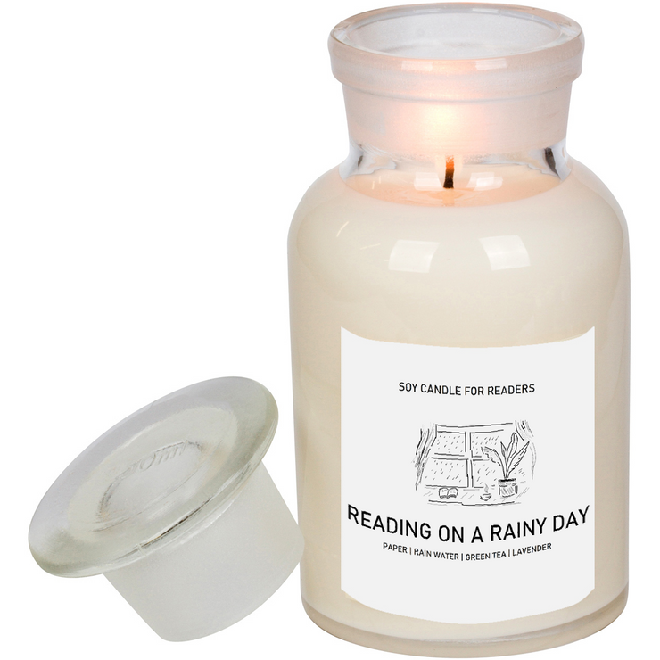 Reading On A Rainy Day 8.5 oz Apothecary Literary Soy Candle for Readers