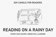 Reading On A Rainy Day 8 oz Glass Jar Literary Soy Candle for Readers