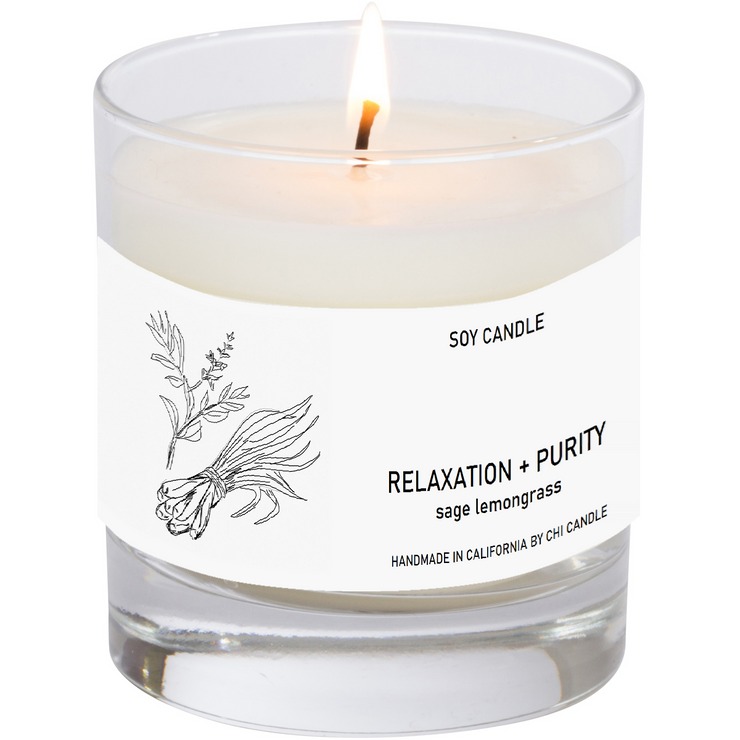 Relaxation + Purity Soy Candle 8 oz Tumbler.  Hand-sketched