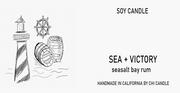 Sea + Victory Soy Candle 8 oz Tumbler.  Hand-sketched design label.