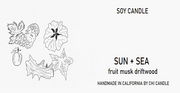 Sun + Sea Soy Candle 8 oz Tumbler.Hand-sketched design label.