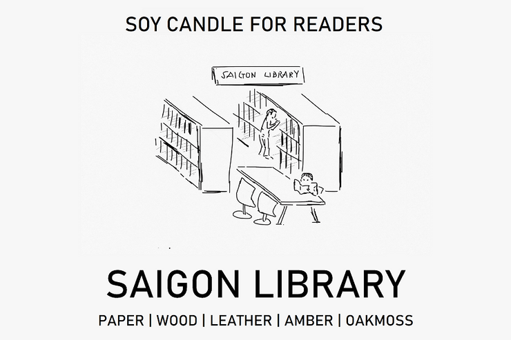 Saigon Library 8 oz Glass Jar Literary Soy Candle for Readers