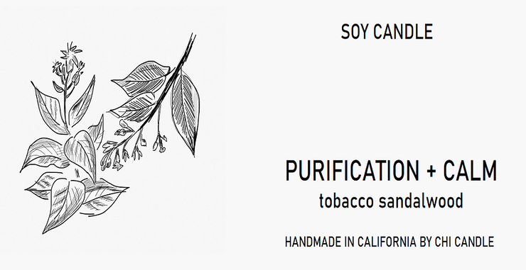 Purification + Calm Soy Candle 8 oz Tumbler.  Hand-sketched design