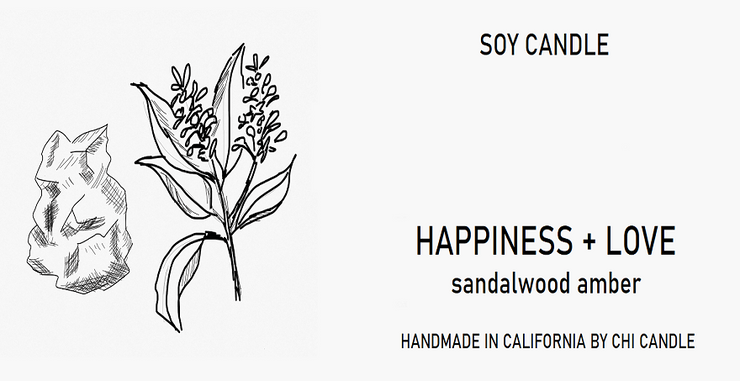 Happiness + Love Soy Candle 8 oz Tumbler.  Hand-sketched design.