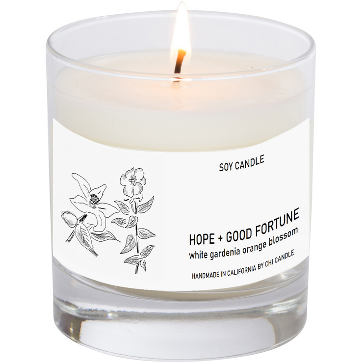 Hope + Good Fortune Soy Candle  8 oz Tumbler.  Hand-sketched design.