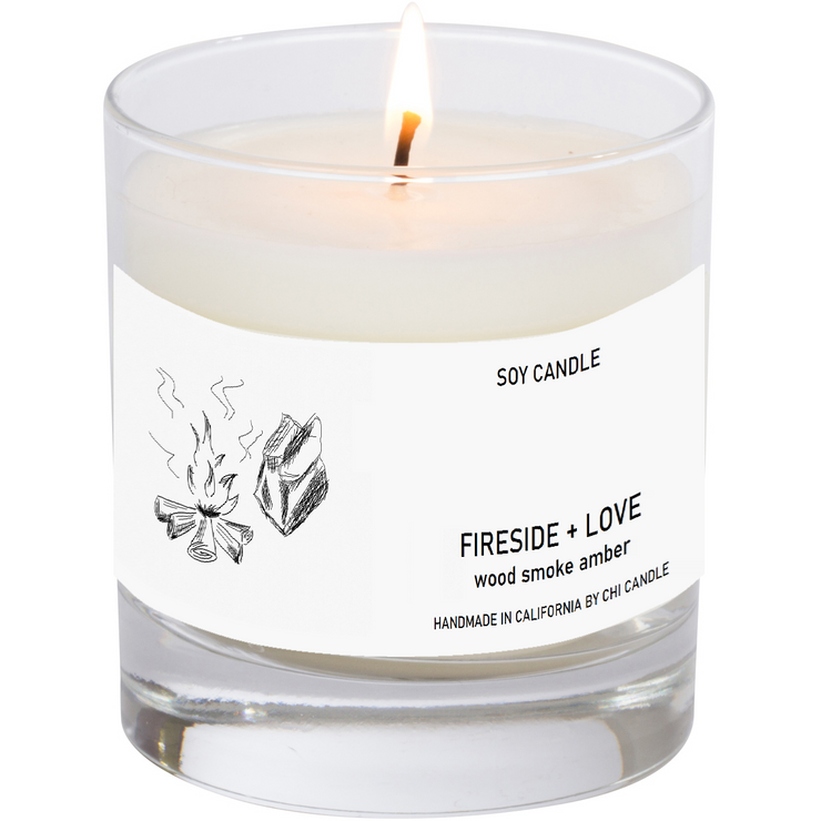 Fireside + Love Soy Candle 8 oz Tumbler.  Hand-sketched design label.