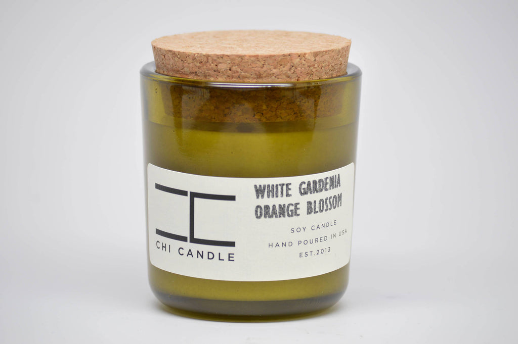 White Gardenia - Orange Blossom 7 oz Vintage Green Glass Soy Candle