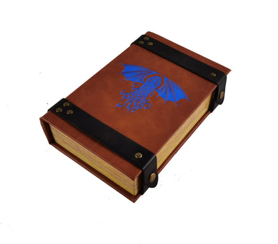 Cthulhu Book-Shaped Blue Fire Rolling Magic Book Tray for All Tabletop RPGs Like D&D , Call of Cthulhu, Shadowrun.