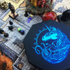 "Blue War Unicorn - Dice Tray - 8"" Octagon with Lid and Dice Staging Area"