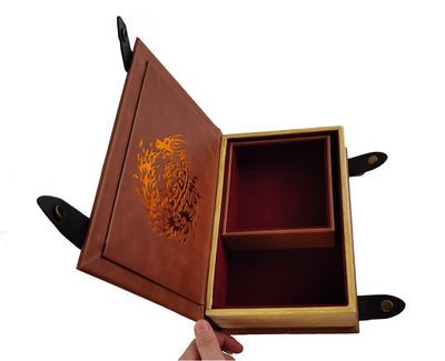 Fire Dragon Book-Shaped Chromatic Blood Red Velvet Fire Rolling Magic Book Tray for All Tabletop RPGs Like D&D , Call of Cthulhu, Shadowrun.