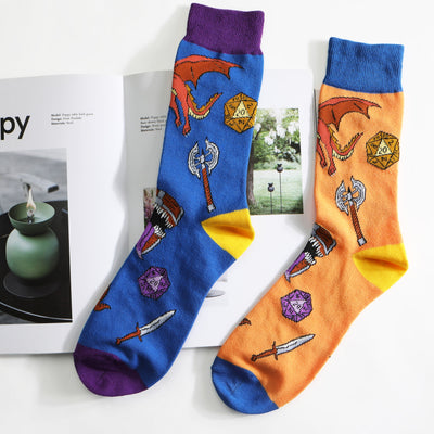 2 Pairs of Dungeons and Dragons DND Crew Socks Blue and Orange US Size 8 - 12 (EU 41-45)