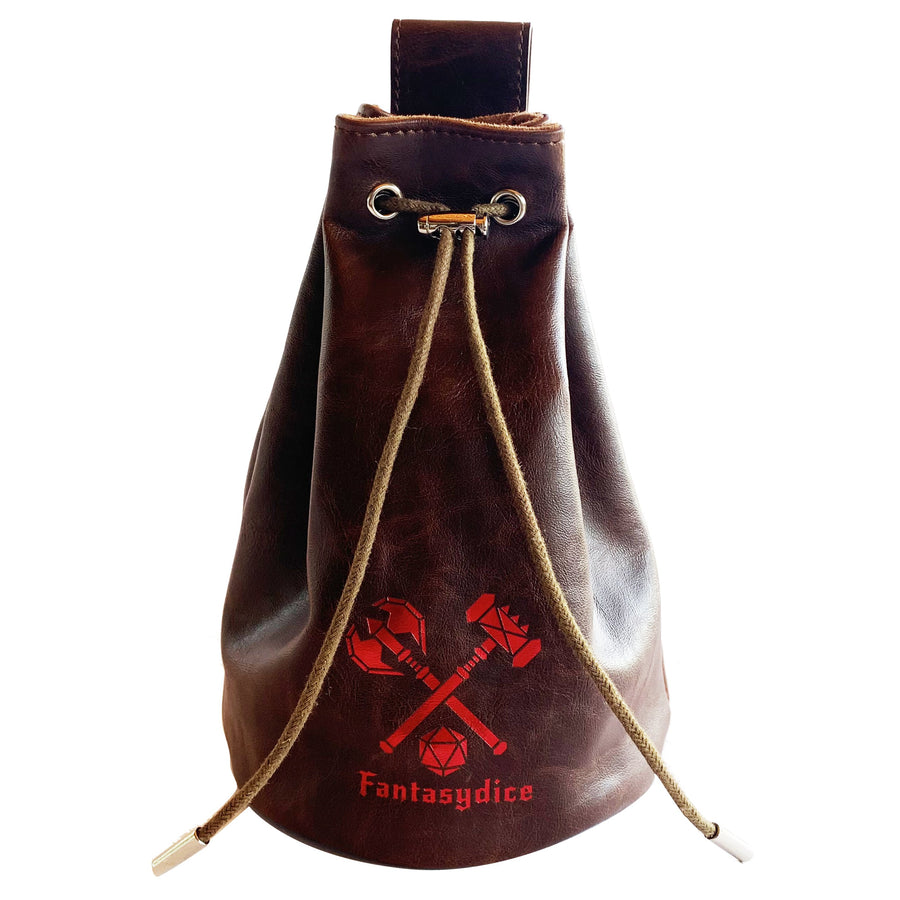 Fantasydice Brown Leather Red Logo Dice Bag with Side Pockets and Large Inner Pocket  With Belt Attachment- Only Available in US