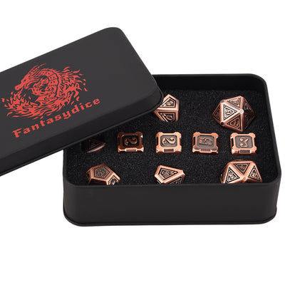 Fire Dragon Copper Color Metal Dice 11 Dice Set- Only Available in US