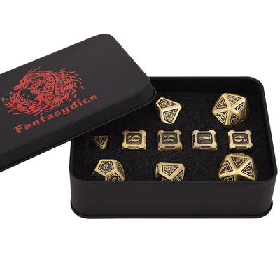 Fire Dragon Brass Color Metal Dice 11 Dice Set- Only Available in US