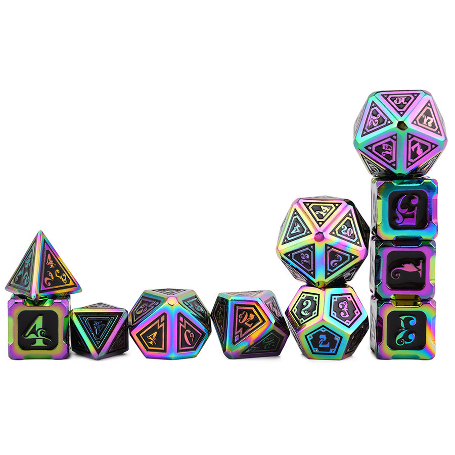 Cthulhu Rainbow Color Metal Dice 11 Dice Set- Only Available in US