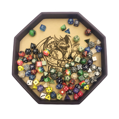 "ROLL OR DIE- Dice Tray - Large 11.5"" (29CM) Octagon - For Dice, Board Games, Tabletop RPGs- Only available in USA"