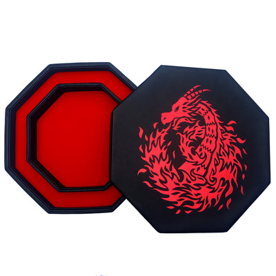 "RED Fire Dragon - Dice Tray - 8"" Octagon with Lid and Dice Staging Area- Holds 5 Sets of Dice(7 / Standard) for All Tabletop RPGs"