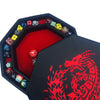 "RED Fire Dragon - Dice Tray - 8"" Octagon with Lid and Dice Staging Area"