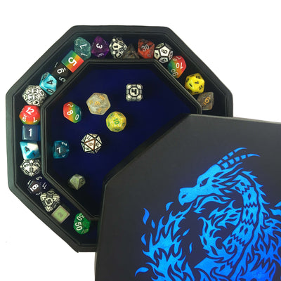 "Blue Fire Dragon - Dice Tray - 8"" Octagon with Lid and Dice Staging Area"