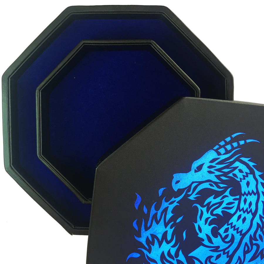 "Blue Fire Dragon - Dice Tray - 8"" Octagon with Lid and Dice Staging Area - ONLY AVAILABLE IN USA"