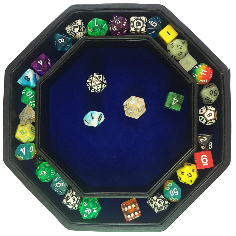 "Blue War Unicorn - Dice Tray - 8"" Octagon with Lid and Dice Staging Area- ONLY AVAILABLE IN USA"