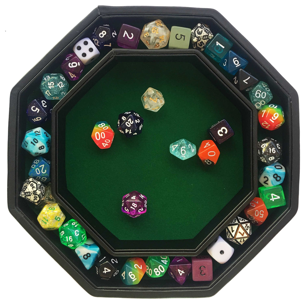 "Green Fire Dragon - Dice Tray - 8"" Octagon with Lid and Dice Staging Area - AVAILABLE ONLY IN EUROPE"