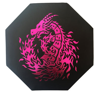 "Pink Fire Dragon - Dice Tray - 8"" Octagon with Lid and Dice Staging Area - Only available in USA"