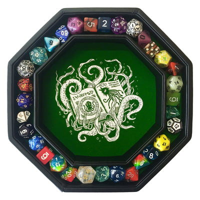 "Green Cthulhu Tome- Dice Tray - 8"" Octagon with Lid and Dice Staging Area"