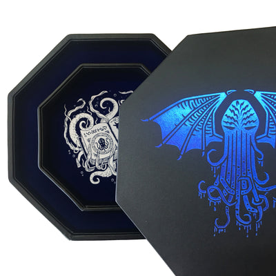 "Blue Cthulhu Tome- Dice Tray - 8"" Octagon with Lid and Dice Staging Area - ONLY AVAILABLE IN EUROPE"
