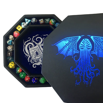 "Blue Cthulhu Tome- Dice Tray - 8"" Octagon with Lid and Dice Staging Area- Holds 5 Sets of Dice(7 / Standard) for All Tabletop RPGs"