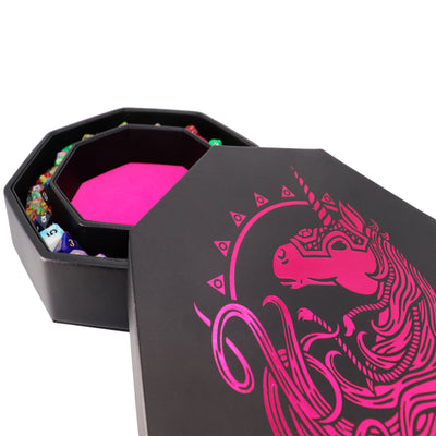 "Pink War Unicorn - Dice Tray - 8"" Octagon with Lid and Dice Staging Area- Only Available in US"