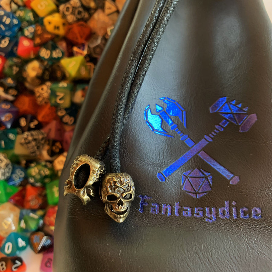Fantasydice Black Leather Blue Logo Dice Bag with Side Pockets and Large Inner Pocket  With Belt Attachment- Only Available in US