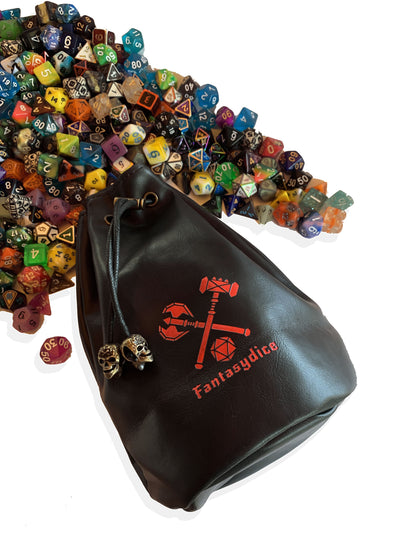 Fantasydice Black Leather Red Logo Dice Bag with Side Pockets and Large Inner Pocket  With Belt Attachment- Only Available in US