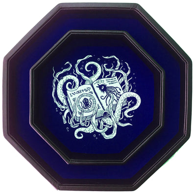 "Blue Cthulhu Tome- Dice Tray - 8"" Octagon with Lid and Dice Staging Area"