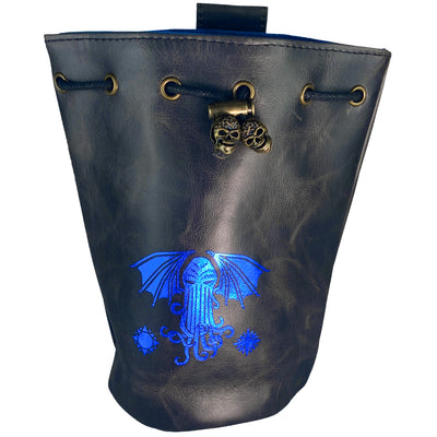 Fantasydice Black/Blue Cthulhu Dice Bag With 4 Side Pockets And 1 Large Inner Pocket Fits More Than 250 Polyhedral Dice And With A Belt Attachment For Easy Carrying Dnd Dice For Dungeons And Dragons